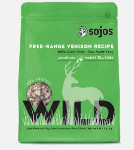 Sojos Wild Dog Food Venison Recipe